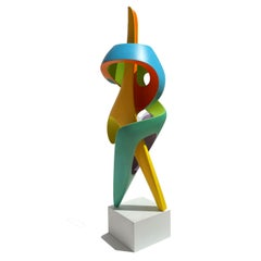 Sentinal - Abstract Sculpture, Brightly Colored Geometric Intertwined Form