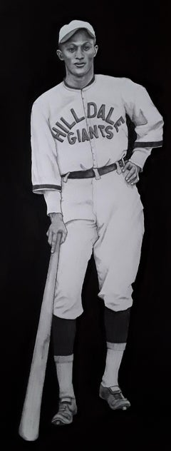 Rap Dixon - Baseball Outfielder, Original Watercolor Painting on Paper, Framed