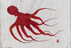 Red Rover - Gyo-Tako Style Japanese Sumi Ink Print of a Large Red Orange Octopus