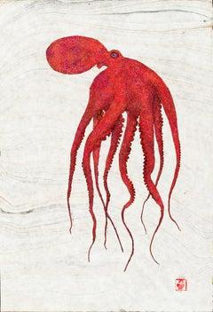 Red Rising - Gyotaku Style Japanese Sumi Ink Print, Large Red Orange Octopus