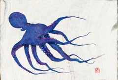 Purple Pus - Gyotaku Style Japanese Sumi Ink Print, Octopus w Blue, Violet, Pink