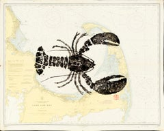 Cape Cod Big Bug - Gyotaku Lobster Painting on Vintage Nautical Map of Cape Cod