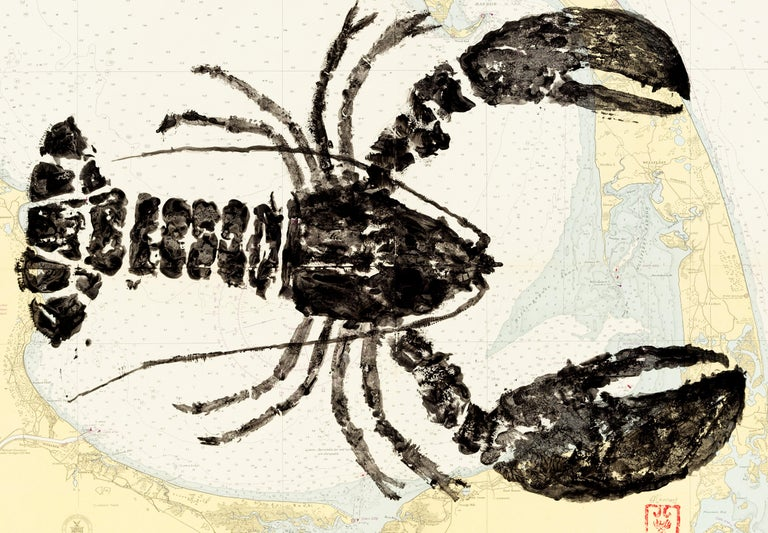 Cape Cod Big Bug - Gyotaku Lobster Painting on Vintage Nautical Map of Cape Cod - Art by Jeff Conroy