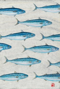 Mack Pack - A Gathering Mackerel Swimming, Watercolor on Mulberry Paper