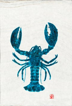 Big Turquoise Bug - Gyotaku Lobster Painting in Blue on Marbled Mulberry Paper