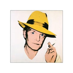 Vintage reproductive print after Warhol, Truman Capote - Yellow Fedora