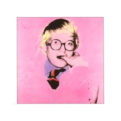 Vintage reproductive print after Warhol, David Hockney