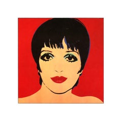 Vintage reproductive print after Warhol, Liza Minelli, Red Background