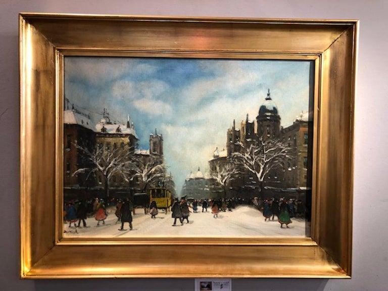 Yellow Tram - Painting by Antal Berkes