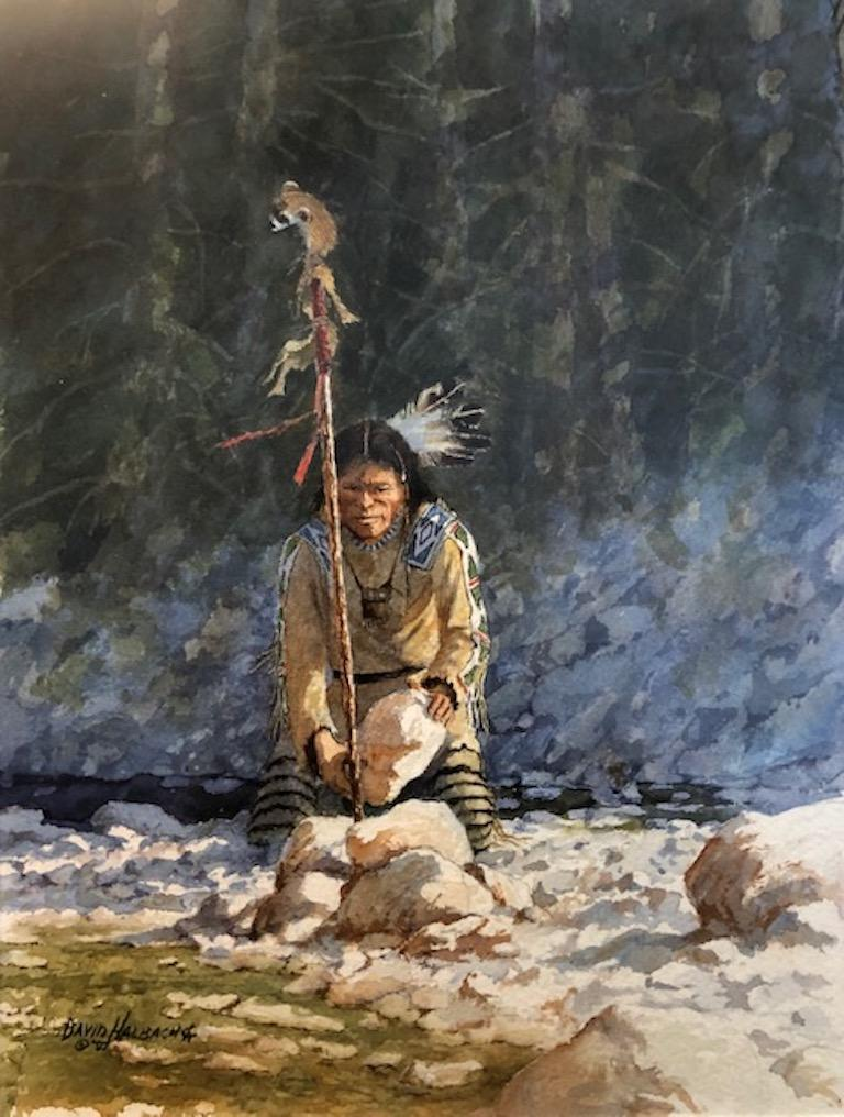David Halbach (1931-  )  American artist, well represented and winner of multiple awards. Artist is an active member of     CAA = Cowboy Artists of America NAWA = National Academy of Western Artists   Watercolor on paper, signed lower left, dated