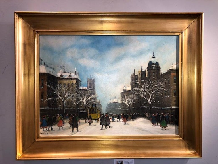 Yellow Tram - Other Art Style Painting by Antal Berkes