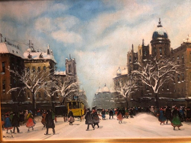 """Berkes, Antal ( 1874-1938)       Antal Berkes was a Hungarian painter, born in Budapest, Hungary. He lived in Paris for some time and produced cityscapes there as well as similar street scenes of Budapest and Vienna.  """" Yellow Tram"""", c. 1910 Oil on"""
