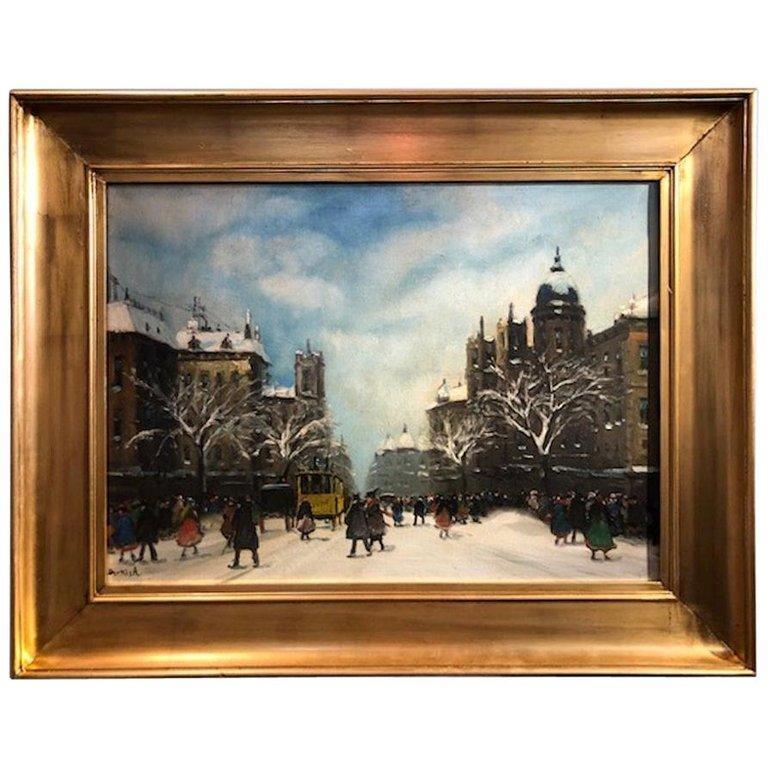 Antal Berkes Landscape Painting - Yellow Tram