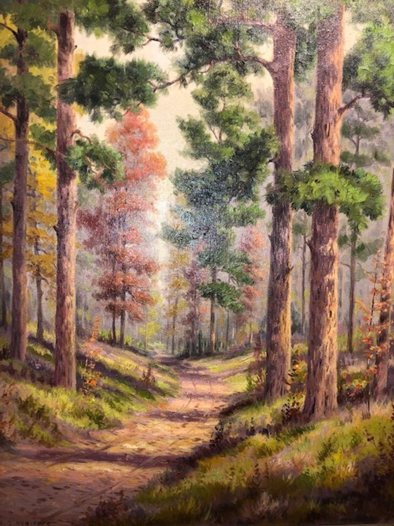 Forest Road - Other Art Style Painting by Dollie Nabinger