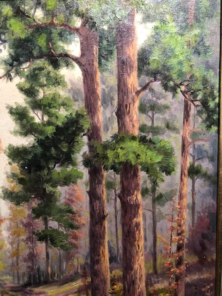 Forest Road - Brown Landscape Painting by Dollie Nabinger
