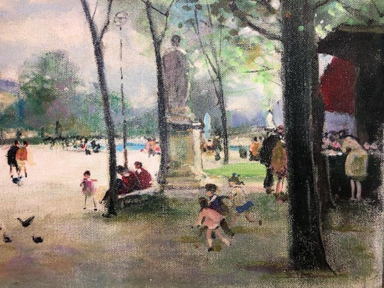 Children Playing - Gray Landscape Painting by Jules Herve