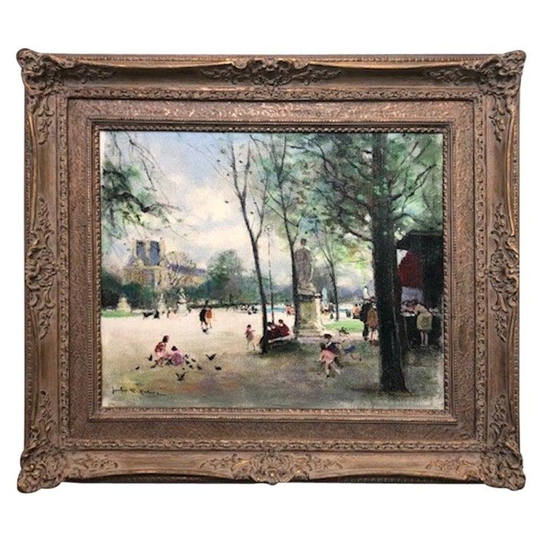 Jules Herve Landscape Painting - Children Playing