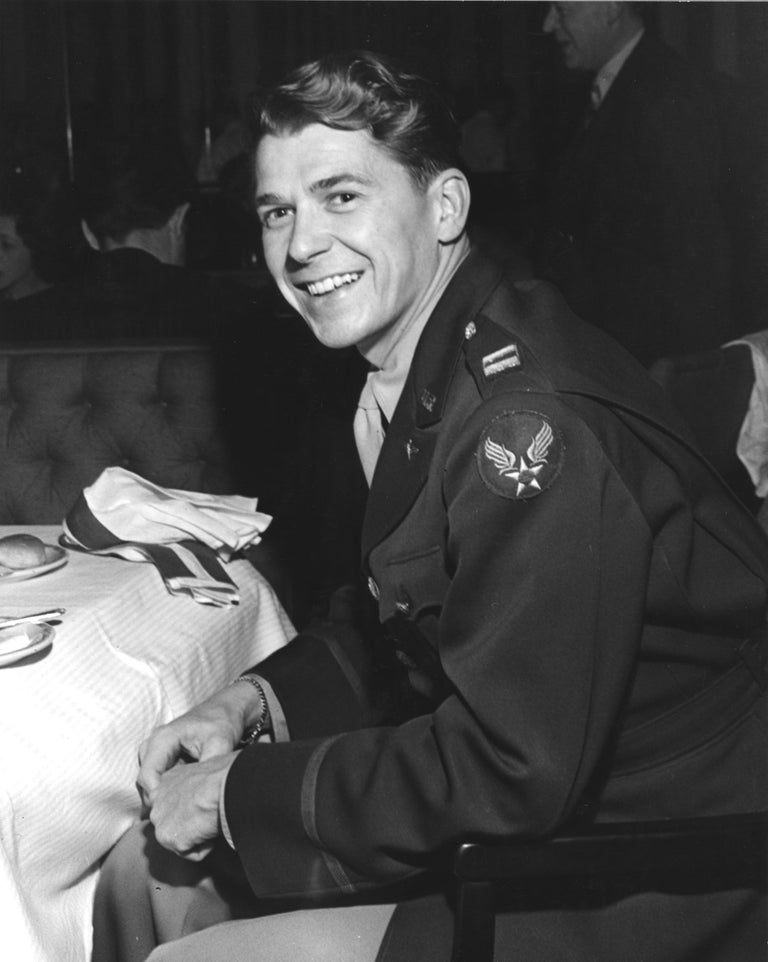 Joseph Jasgur Black and White Photograph - Ronald Reagan Candid in Military Uniform Fine Art Print