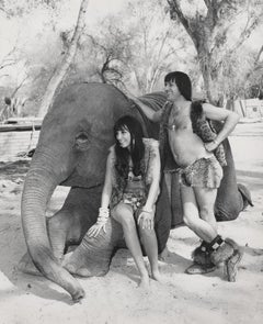Sonny and Cher Posed with an Elephant Globe Photos Fine Art Print