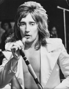 Rod Stewart Singing in Microphone Vintage Original Photograph