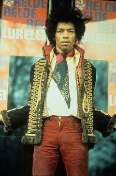 Jimi Hendrix Candid in Scarf Globe Photos Fine Art Print