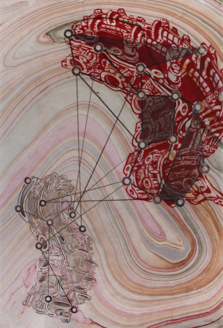 """Brian Fekete's """"Notes on an Industrial Spy"""" is a large, framed 38 x 25 inch mixed media work on paper in gouache and graphite in red, pale pink and gray.  Set against a background of marbleized paper in delicate pale pinks, oranges and grays,"""