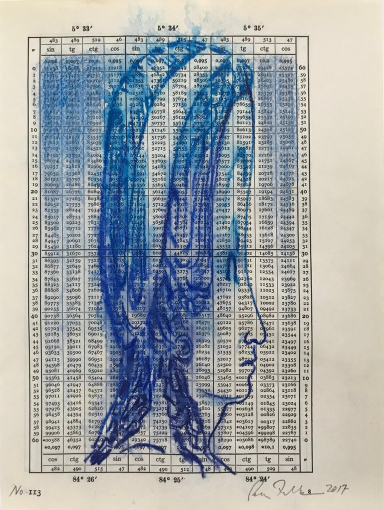 """Brian Fekete's """"No. 113"""" is a small, unframed, monochromatic 10 x 8 inch watercolor pencil drawing in deep blue on vintage paper, depicting a head in profile that appears to have been stretched vertically.  Drawn in indigo over a page from a 1943"""