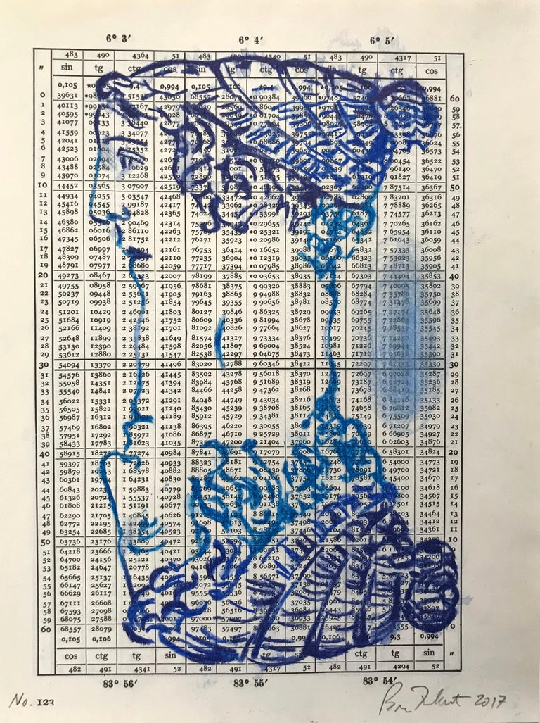 """Brian Fekete's """"No. 123"""" is a small, unframed, monochromatic 10 x 8 inch watercolor pencil drawing in deep blue of a woman's head in profile on a page from a 1943 trigonometry resource printed with regular columns of numerical results. Reflected"""