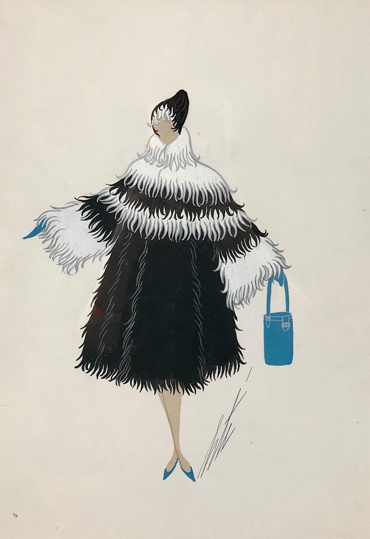 Erte (Romain de Tirtoff) Portrait - Wagon-lit, manteau