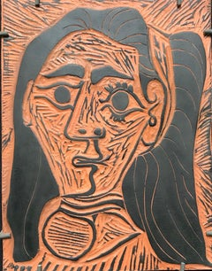 Pablo Picasso,Fluffy-haired Woman, clay plaque