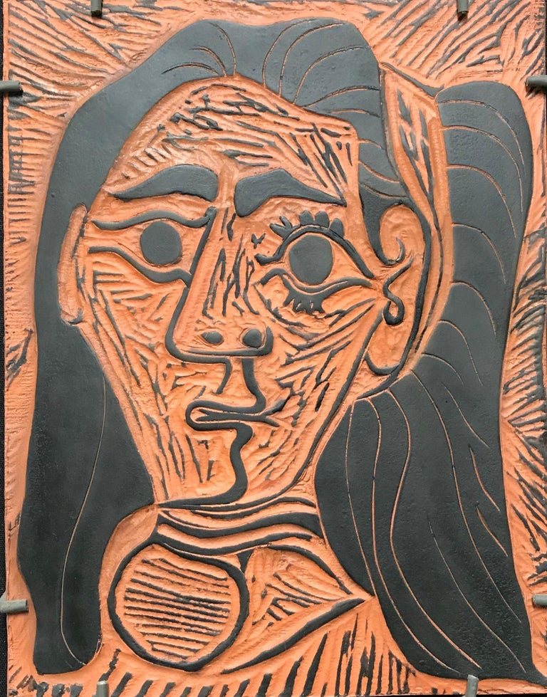 Pablo Picasso,Fluffy-haired Woman, clay plaque - Print by Pablo Picasso