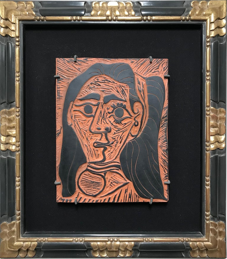 Pablo Picasso,Fluffy-haired Woman, clay plaque - Surrealist Print by Pablo Picasso