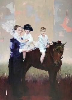 "Acrylic on Canvas Titled ""Horseplay"""