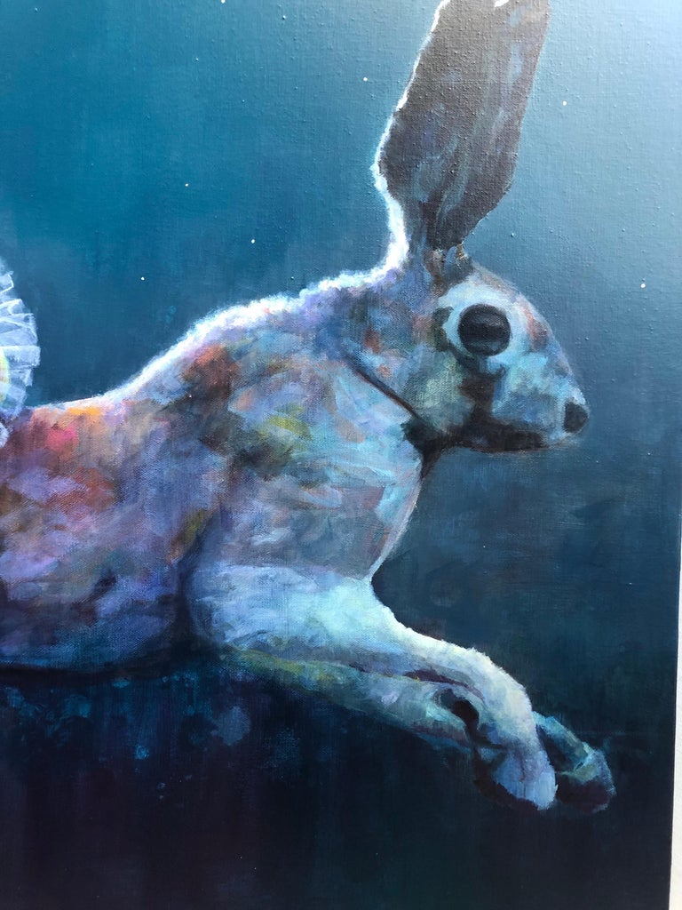 """Acrylic on Canvas Titled """"Harebrained"""" - Blue Figurative Painting by Susan Hanssen"""