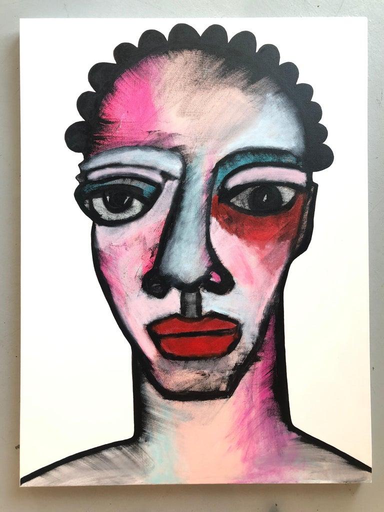 Robert Catalan Figurative Painting - Acrylic on Canvas Titled: Michaela