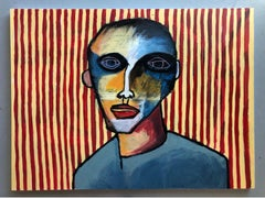 """Acrylic on Canvas Titled: """"Boy with Stripes"""""""