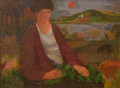 Figure with Ivy - Late 20th Century Figurative Oil Piece by Duffy Ayers