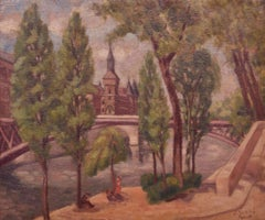 Paris - Mid 20th Century Landscape Oil of France River Pre War by Jacob Markiel
