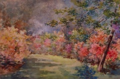 Floral Gardens - Early 20th Century Watercolor Landscape by Annie L Pressland