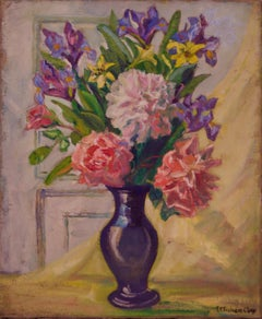 Still Life Flowers - Early 20th Century Oil on Canvas by E C Fisher Clay