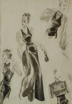 Original Fashion Drawings Fashion Plate - Pre War Early-Mid 20th Century Sketch