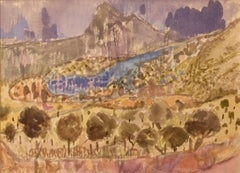 Landscape of Provence in France - Late 20th Century Watercolour by Muriel Archer