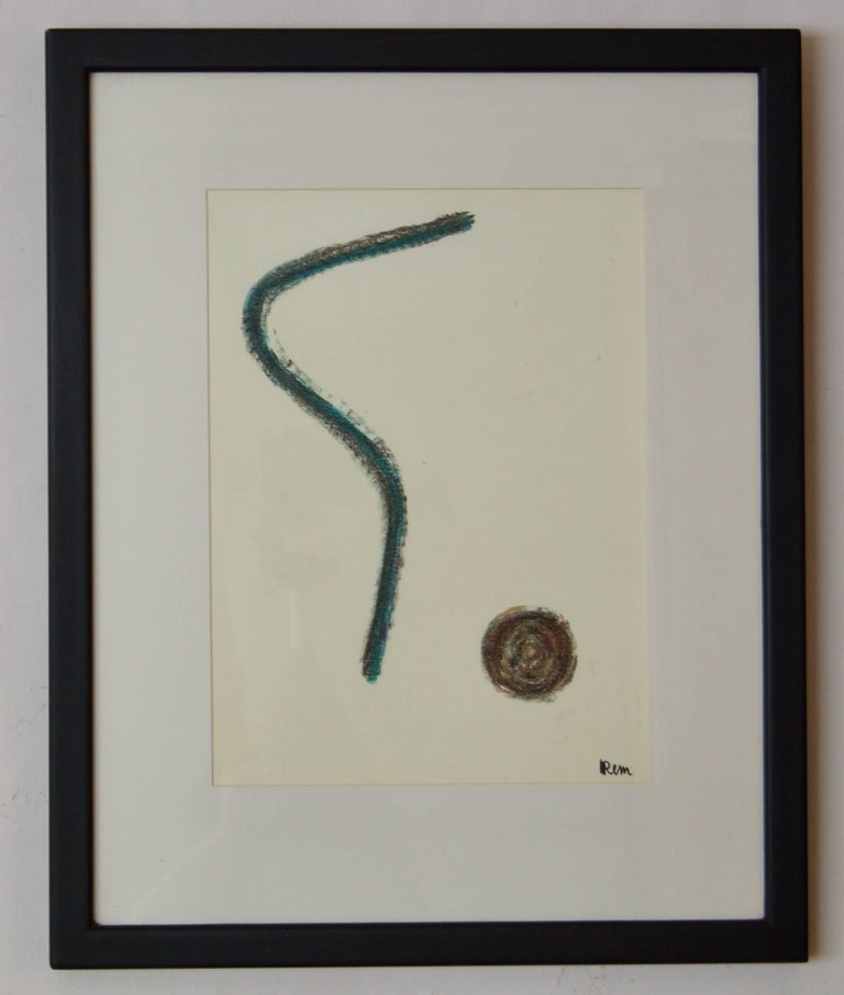 Mid Century Abstract Mixed Media Drawing by Rem Raymond Coninckx - Belgium For Sale 1