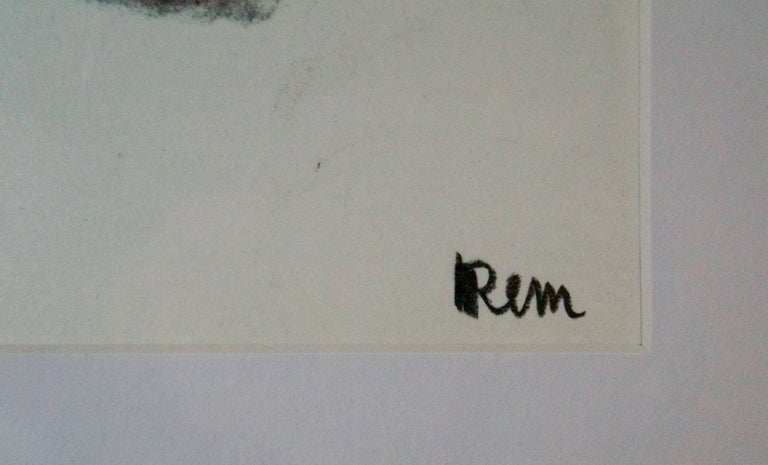 Mid Century Abstract Mixed Media Drawing by Rem Raymond Coninckx - Belgium For Sale 3