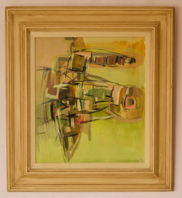 Abstract Piece - Mid 20th Century Mixed Media Watercolor by John Bolam For Sale 1