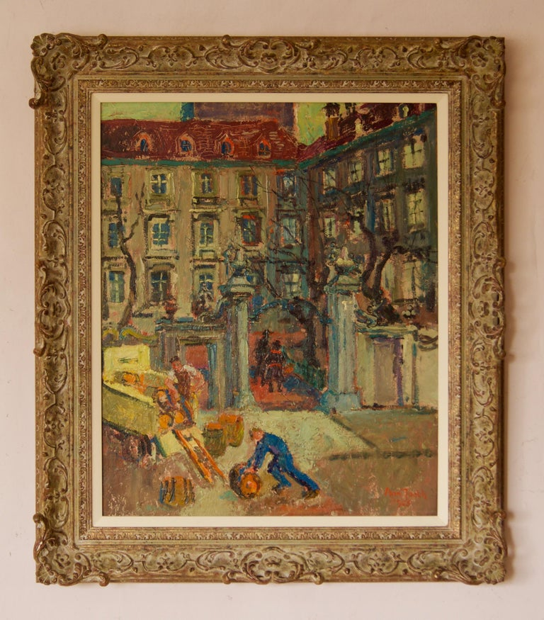 Left Bank Paris - Early 20th Century Impressionist Oil Painting by Ann Tooth 2