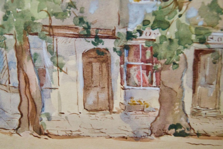 South of France - Early 20th Century Impressionist Watercolour by Bennett For Sale 1
