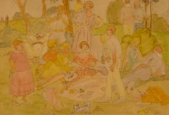Family Picnic - 20th Century Watercolour of a Picnic in the Park Family Day Out