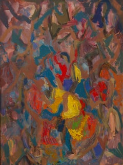 Abstract Piece - Mid 20th Century Colourful Oil on Canvas by Metchilet Navisaski
