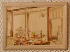 Art Deco Style Watercolour - Mid 20th Century Painting of Cafe by Howard Bowen